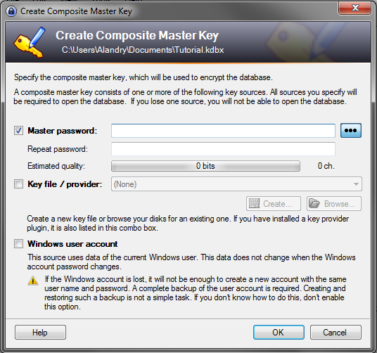 how to store passwords using KeePass - Create a Composite Master Key