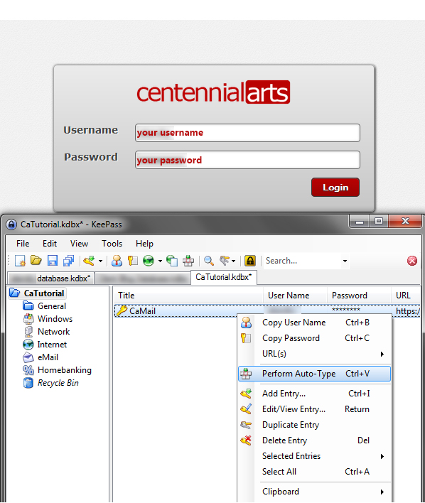 how to use Keepass to log into websites - Auto Type