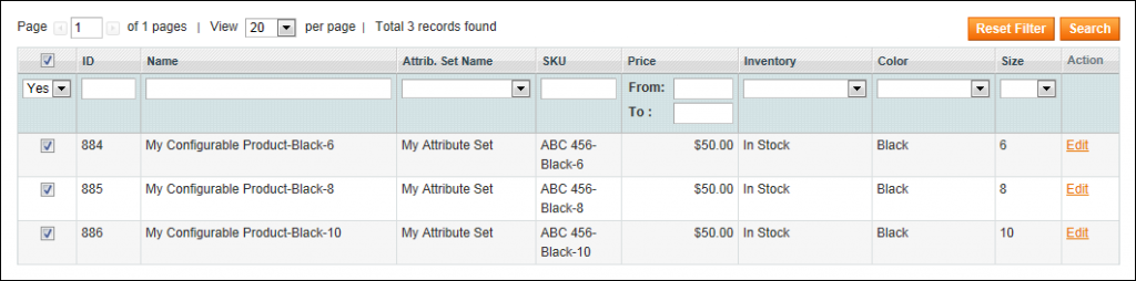 Creating a Configurable Product - List of Associated Products