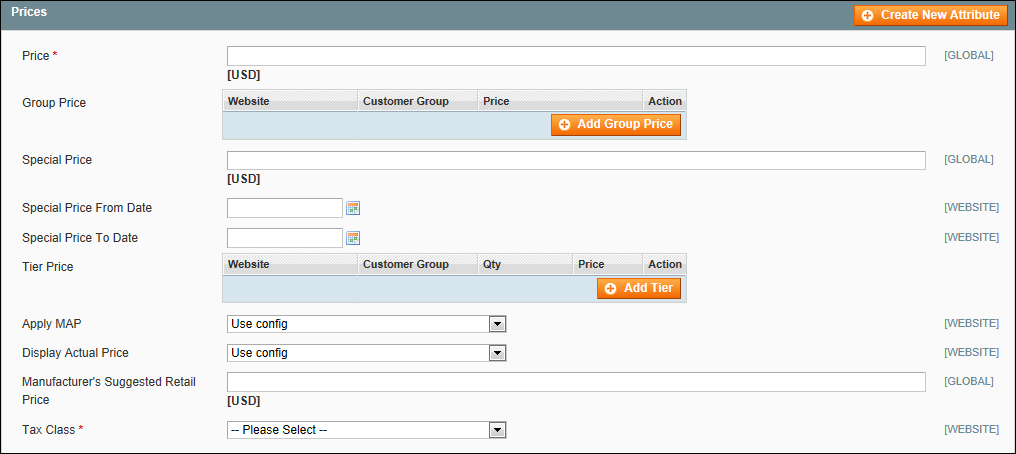 Creating a Simple Product in Magento: Prices