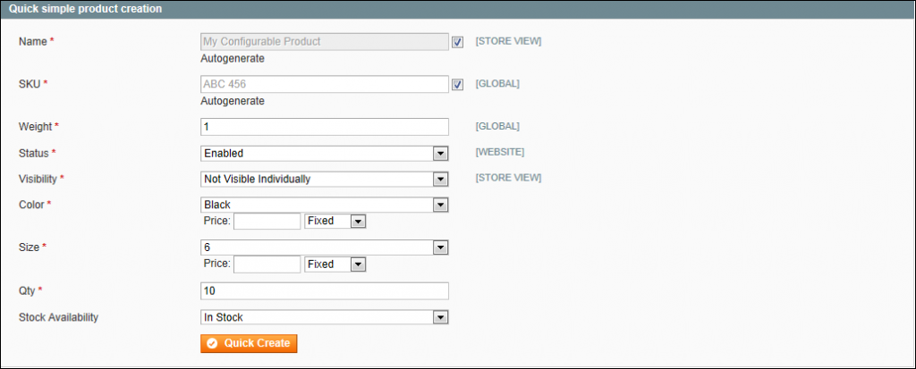 Creating a Configurable Product - Quick Simple Product Creation