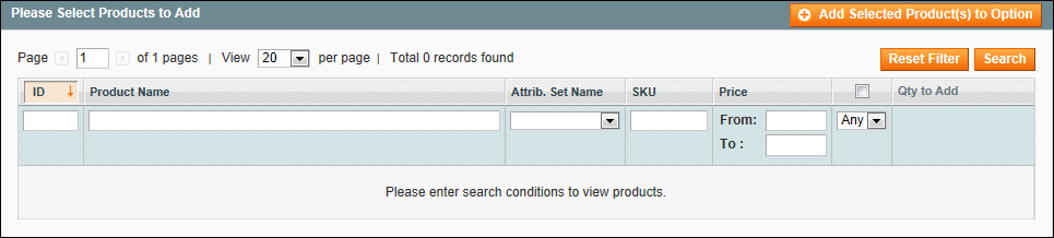 Creating a bundle product in Magento: Select Products