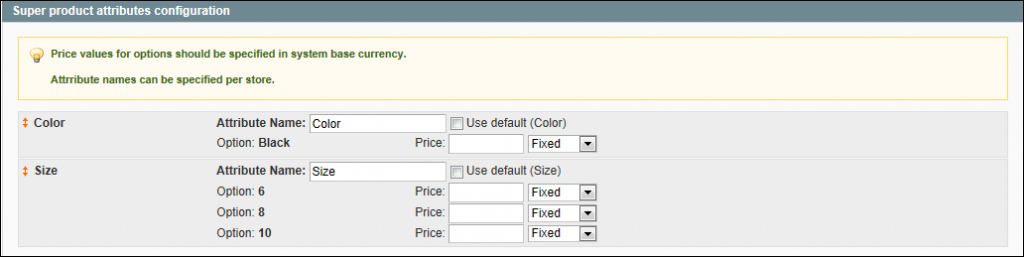 Creating a Configurable Product - Super Products Attributes Configuration
