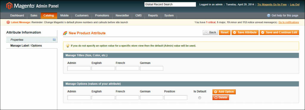 Managing attributes in Magento: Manage Label / Options for Dropdown Input Type