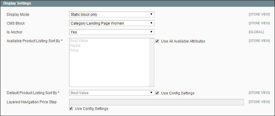 Display Settings in Categories for Magento