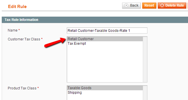 Setup Tax Exemption in Magento: Edit Rule
