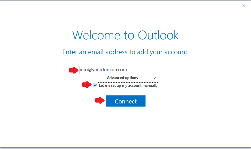 Outlook 2016 E-mail Setup - Manual Setup
