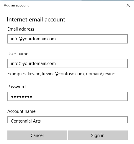 Windows 10 Mail Setup - Internet email account setup