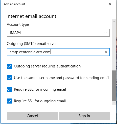 Windows 10 Mail Setup - Outgoing SMTP email serve