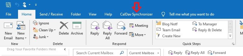 How to Add Calendars to CA Email Accounts in Outlook - Select CalDav Synchronizer tab